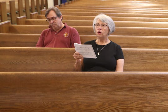 Bret Whissel, Taize prayer services cantor, left and Anita Parrish, coordinator, sing during a practice run for future Taize prayer services at Faith Presbyterian Church on North Meridian Road in Tallahassee, Fla. Tuesday, Sept. 18, 2018.
