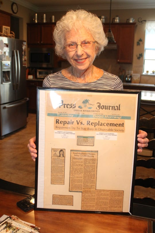 Marie Ferretti with some 'Press Journal' stories about her husband Richard Ferretti, Sr.