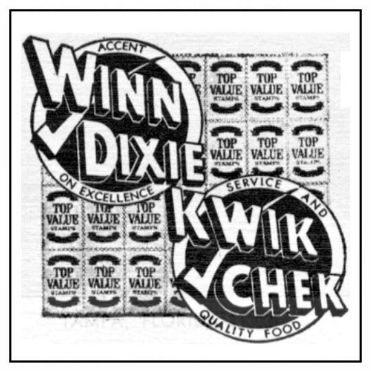 The logo and its green trading stamps for Winn-Dixie and Kwik Chek.