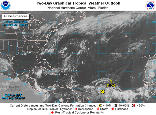 One tropical wave in the Atlantic Basin at 6:30 a.m. Sept. 19, 2018.