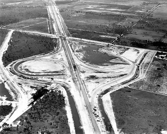 An aerial of the construction of the Florida Turnpike in Palm City at intersection of SR 714.