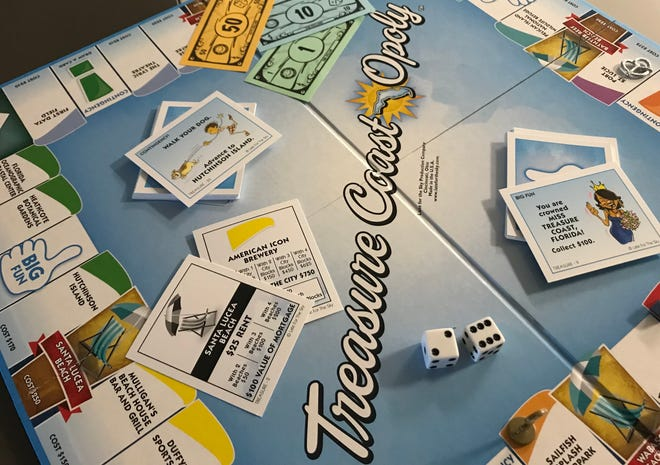 Treasure Coast-Opoly, now available at local Walmart Supercenters, was created by Late for the Sky Productions, a Cincinnati-based board game company.