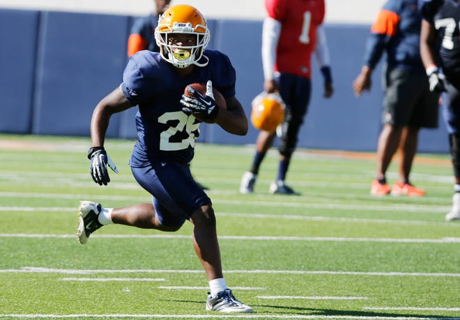 UTEP wide receiver Kavika Johnson looks for a hole to run through during practice Wednesday morning in the Sun Bowl. The Miners are going through final preparations for their upcoming game against the Aggies of NMSU Saturday afternoon in the Sun Bowl.