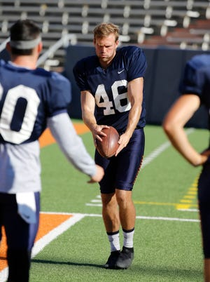 UTEP punter Mitchell Crawford stays loose on the sidelines during practice Sept. 19 as the Miners prepared for their game against the NMSU Aggies in Sun Bowl Stadium.