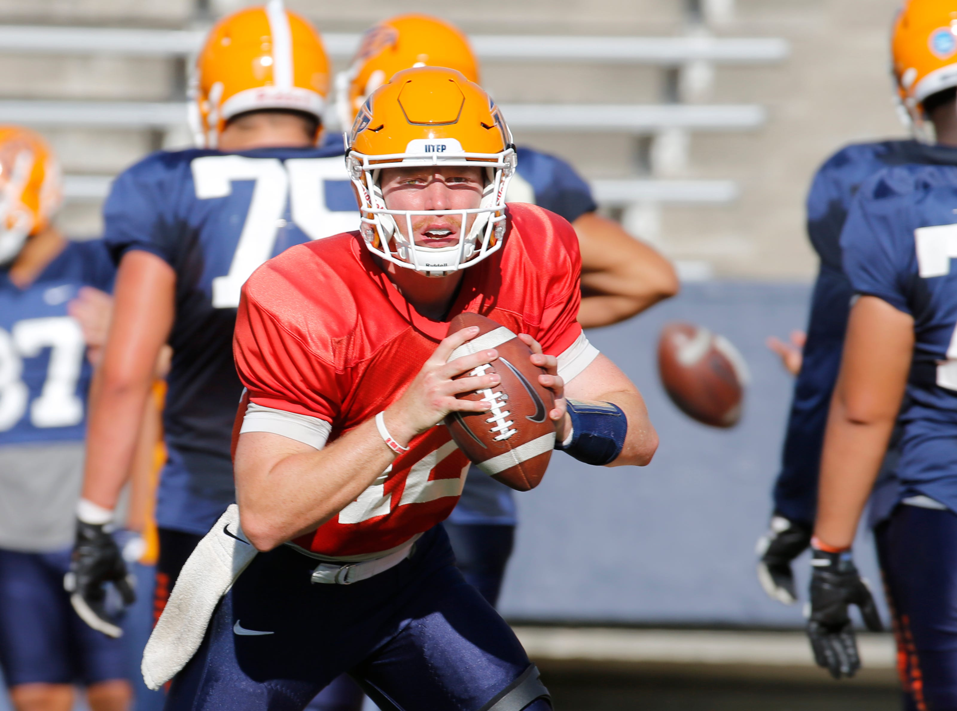 UTEP quarterback Ryan Metz looks for a receiver during passing drills Wednesday in the Sun Bowl. The Miners continue their preparations for their game Saturday afternoon against the Aggies of NMSU in the Sun Bowl.