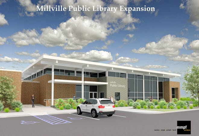Architectural rendering of Millville Public Library expansion proposal.
