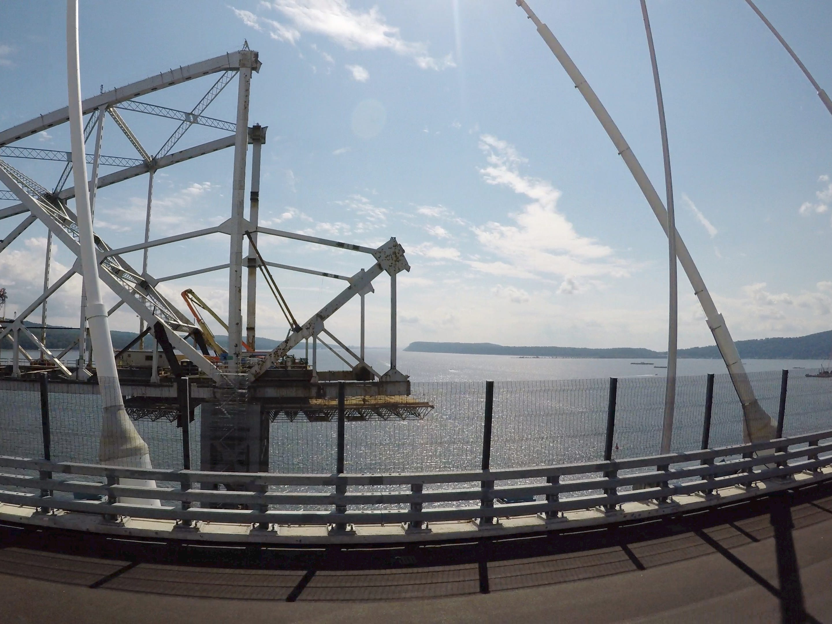 The center span of the Tappan Zee Bridge is slowly being taken apart, as seen from the Gov. Mario Cuomo Bridge Sept. 19, 2018.