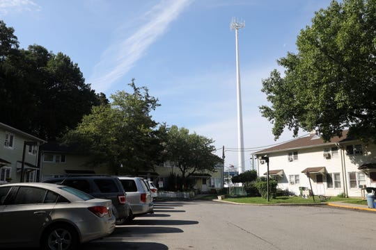 A newly constructed MTA cell tower beside the Franklin Courts low-income housing complex in Tarrytown Sept. 19, 2018. The MTA, which is exempt from local zoning, put up a cell tower right next to the Franklin Courts complex and playground, and residents are concerned for their safety.
