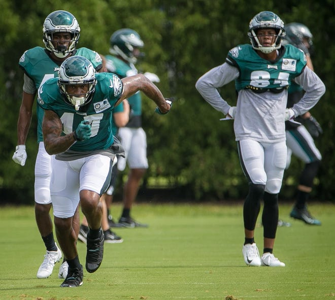 Wide receiver Alshon Jeffery runs practice drills at the NovaCare Complex in Philadelphia. Wentz prepares to take the field for the first time in the 2018 season this Sunday against the Indianapolis Colts.