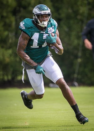 Wide receiver Alshon Jeffery runs practice drills at the NovaCare Complex in Philadelphia. Carson Wentz took the field for the first time in the 2018 season Sunday in the Eagles' victory over the Indianapolis Colts.