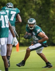 Wide receiver Jordan Matthews returns to the Eagles line up as he runs practice drills at the NovaCare Complex in Philadelphia.