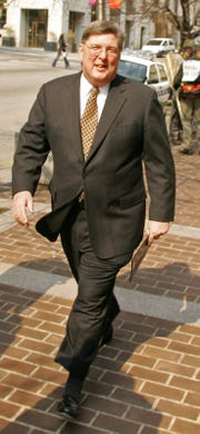 Michael Harkins, former chief of the DRBA, arrives at the federal courthouse in Wilmington for sentencing on March 18, 2005. Harkins is now working as a contract consultant for Republican candidates in Delaware.