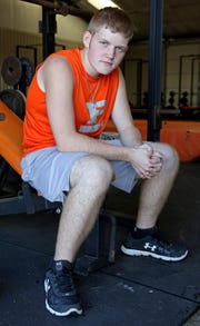 Petrolia's Wade Colley has slimmed down the past few months and plans on competing in powerlifting and track once football season is over.