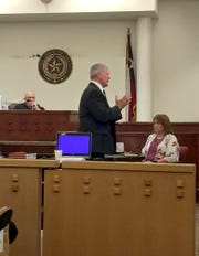 Special Prosecutor Ron Poole gives the state's closing arguments to the seven-man, five-woman jury in the Kody Lott murder trial Wednesday afternoon in a Fort Worth courtroom.