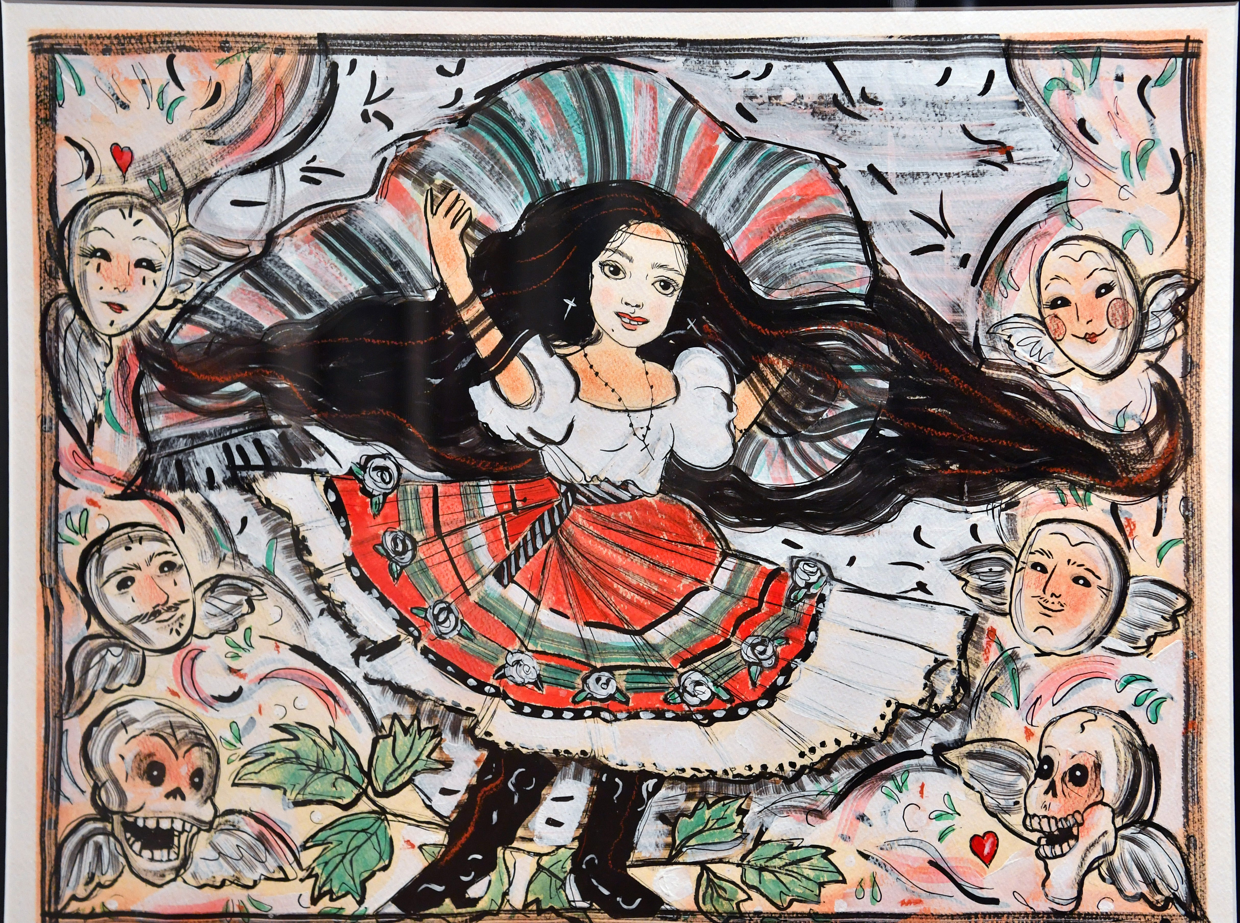 A mixed media piece by Sonya Fe using ink, chalk, gesso and watercolor on paper is from the vast collection of Chicano art of Cheech Marin. The exhibit runs through December 1 at the Wichita Falls Museum of Art at Midwestern State University.