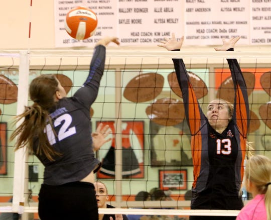 Windthorst's Claire Hemmi spikes the ball by Petrolia's Rhiannon Freeman Tuesday, Sept. 18, 2018, in Petrolia.