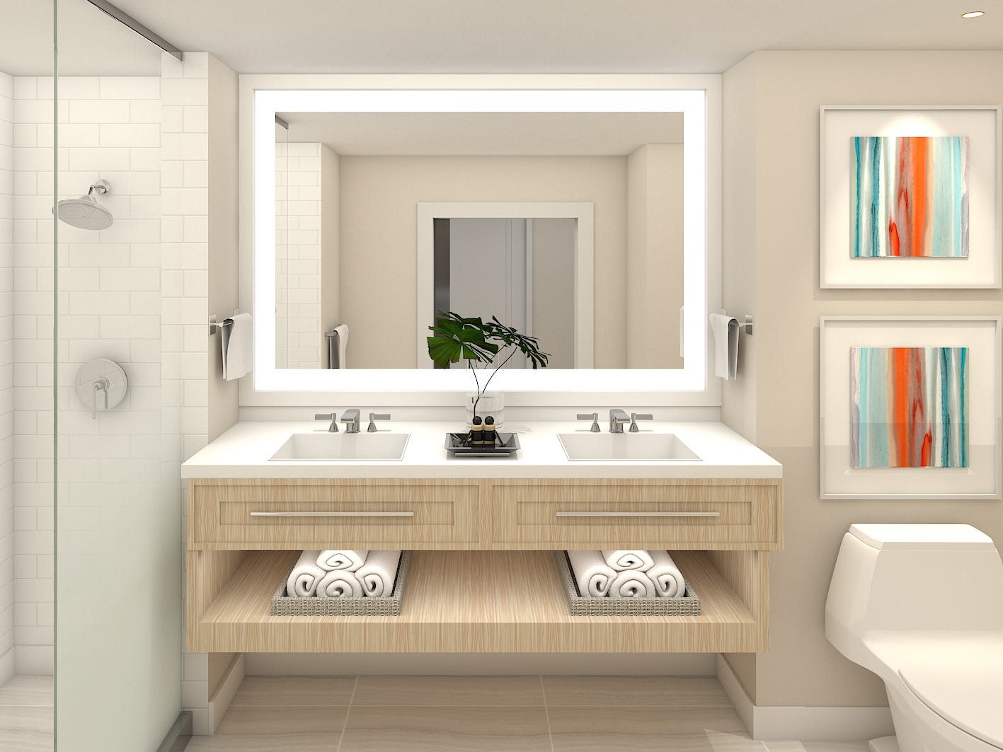 The bathroom in a guest room at the planned Sunseeker Resort Charlotte Harbor in southwest Florida. Discount airline Allegiant is building the resort.