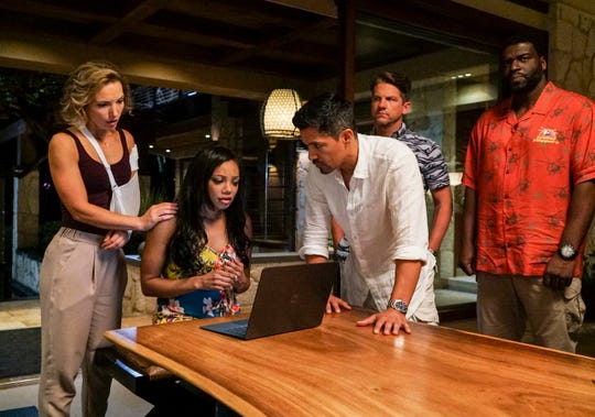 "Perdita Weeks as Juliet Higgins, Tiffany Hines as Lara Nuzo, Jay Hernandez as Thomas Magnum, Zachary Knighton as Orville ""Rick"" Wright, and Stephen Hill as Theodore ""TC"" Calvin on ""Magnum P.I."""