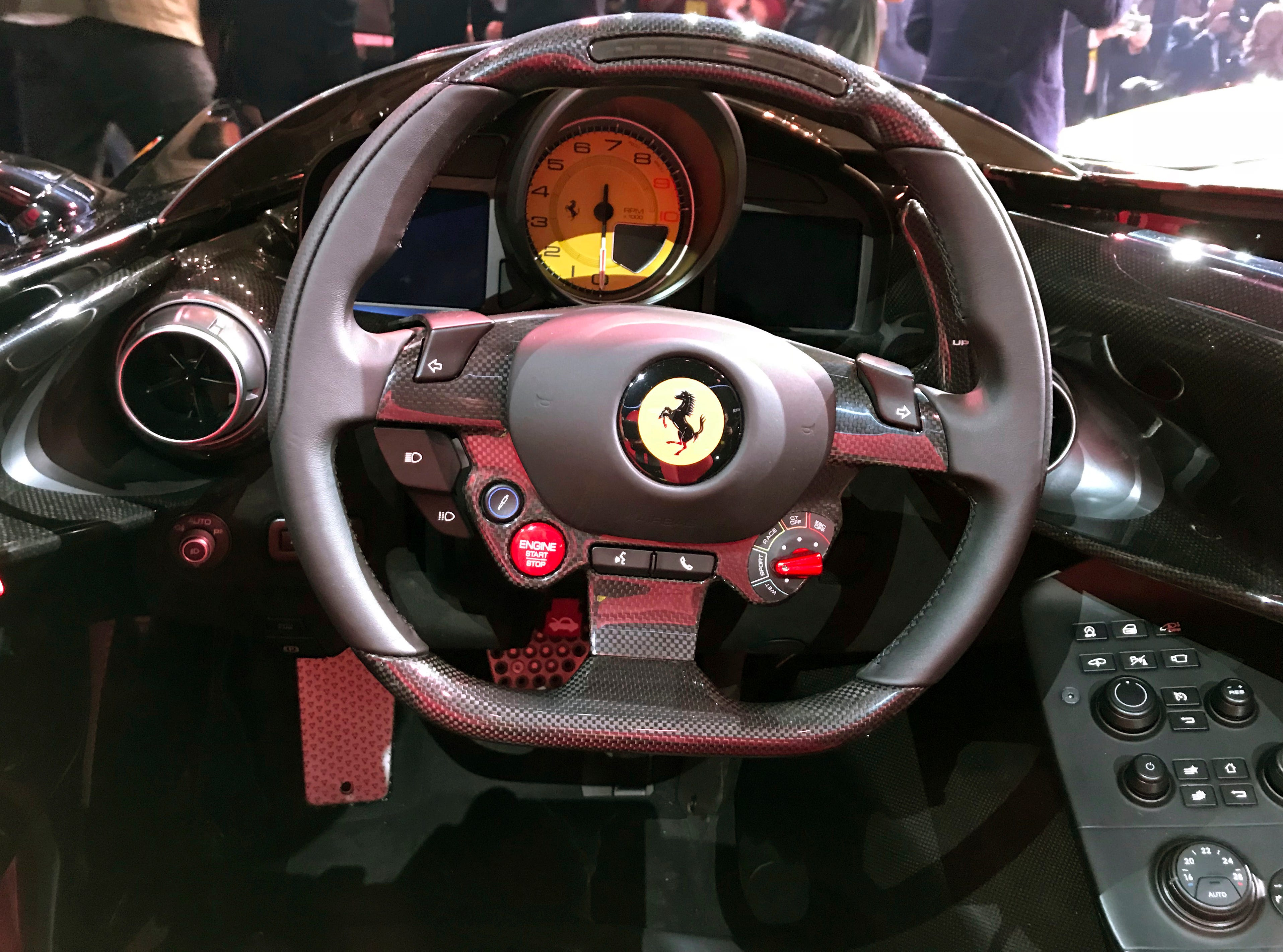 A view of the cockpit of the Ferrari Monza SP2 on display in Maranello, Italy, Tuesday, Sept. 18, 2018.