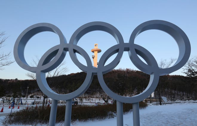 The Olympic rings are displayed for the 2018 Pyeongchang Winter Olympics.