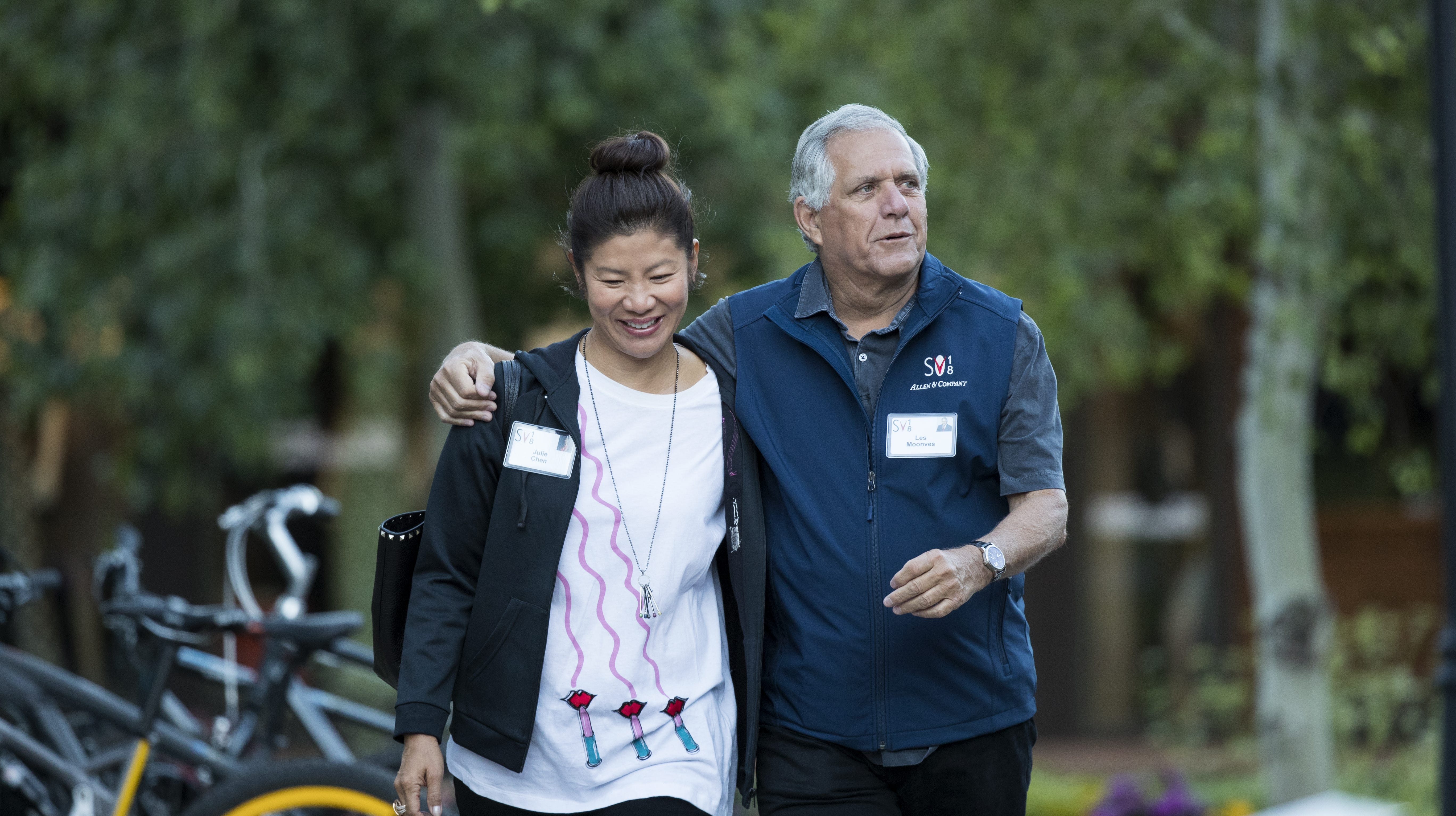 Julie Chen and Leslie Moonves on July 11, 2018, in Sun Valley, Idaho.