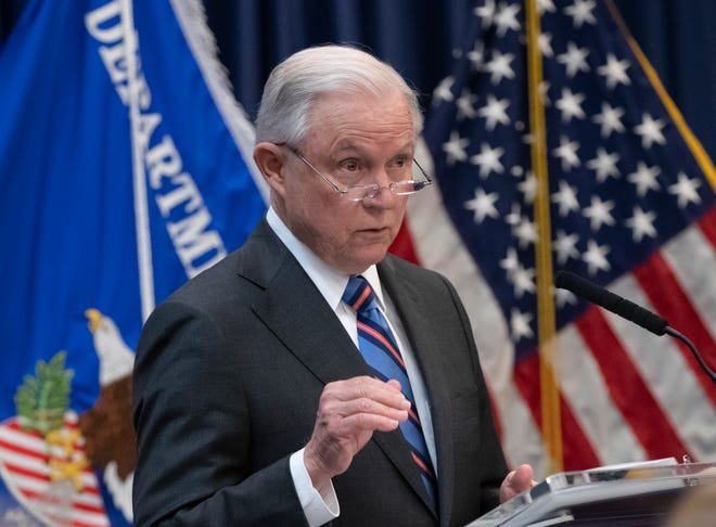 Attorney General Jeff Sessions outlines Trump administration policies as he speaks to new immigration judges, in Falls Church, Va., on Sept. 10, 2018.