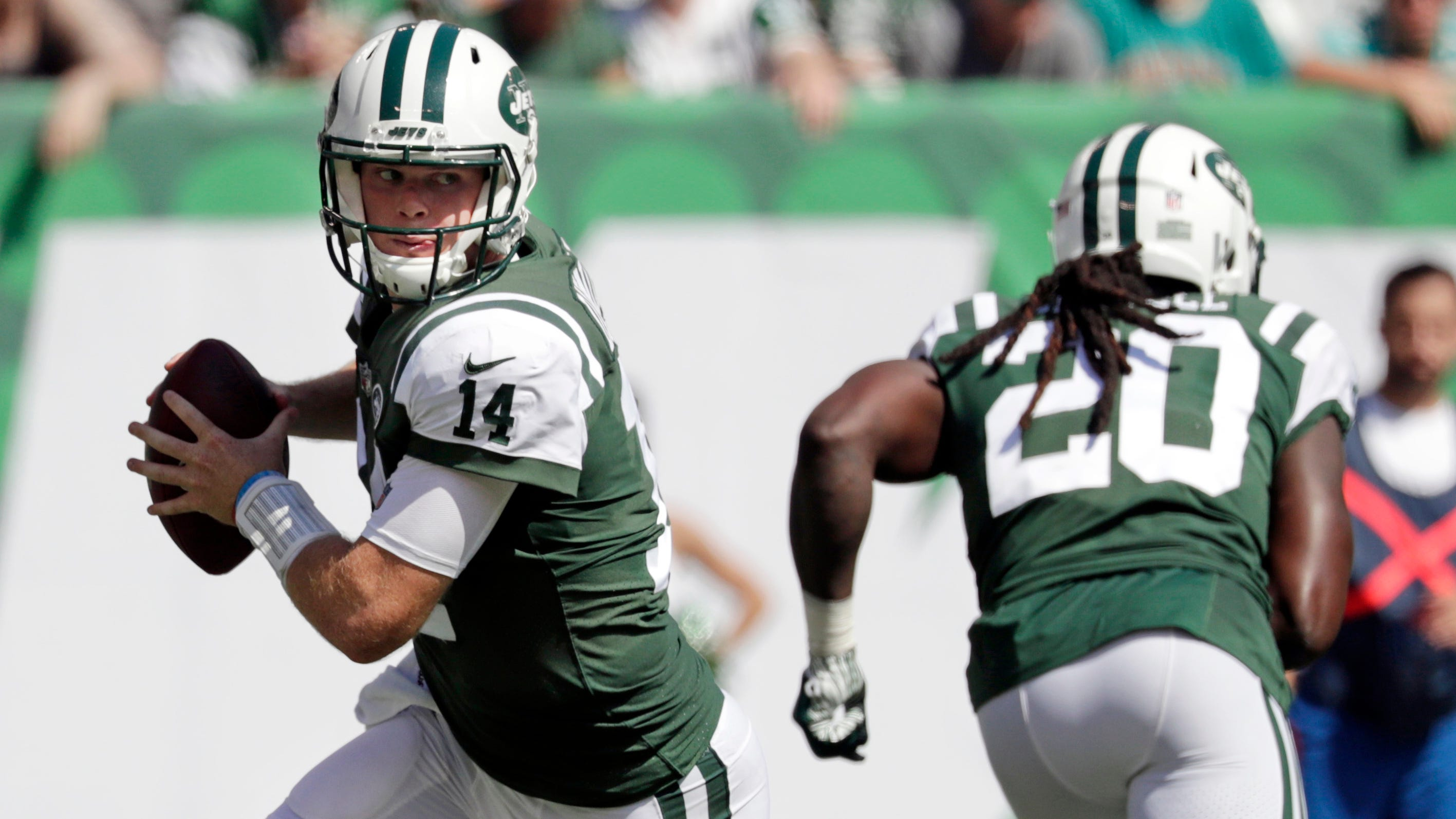 New York Jets' Sam Darnold during the first half of an NFL football game against the Miami Dolphins in East Rutherford, N.J. Sept. 16, 2018