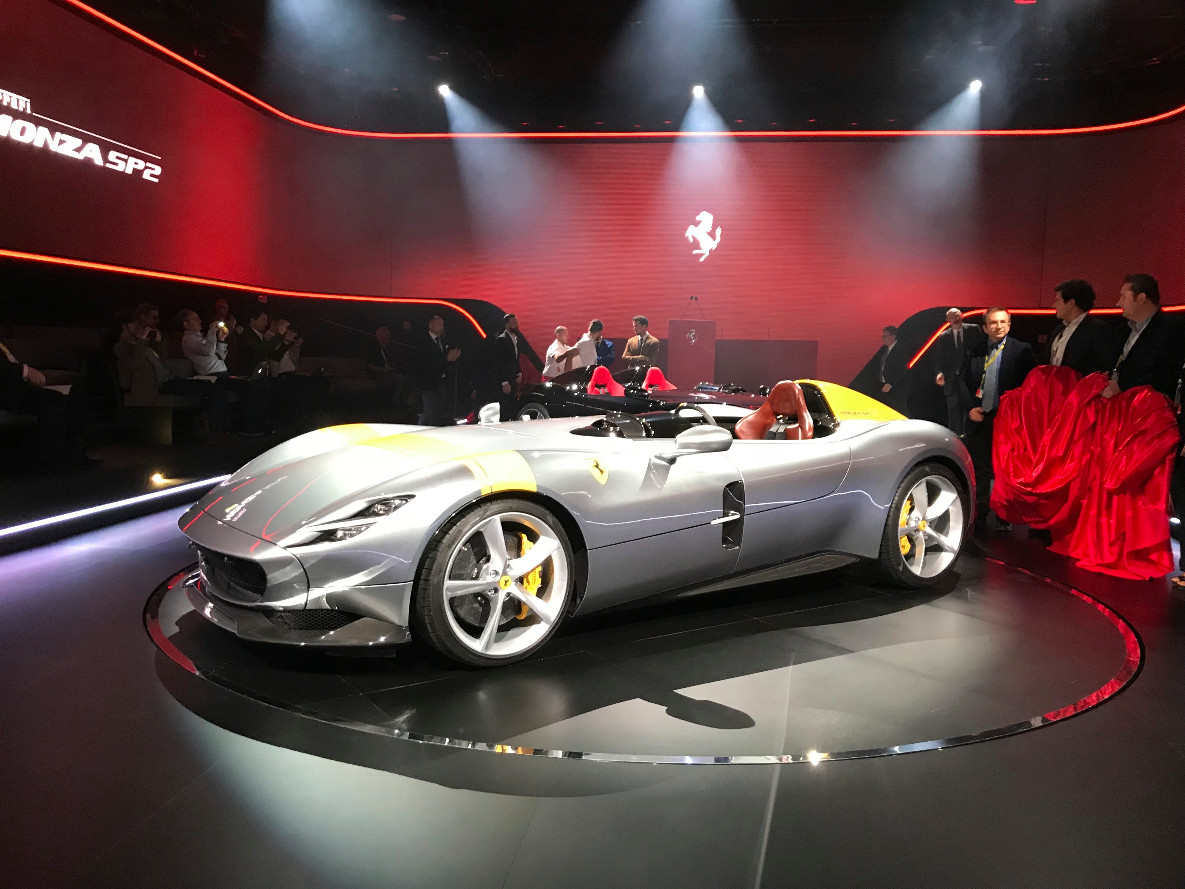 """The Ferrari Monza SP1 is displayed in Maranello, Italy, Tuesday, Sept. 18, 2018. Nicolo Boari, the head of product marketing, said Tuesday that the Ferrari Monza SP1 and SP2 are """"the most powerful ever in Ferrari history."""