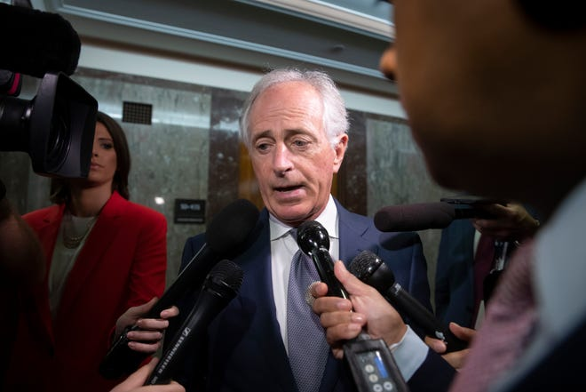 Senate Foreign Relations Committee Chairman Sen. Bob Corker, R-Tenn.,  comments on Supreme Court nominee Brett Kavanaugh amid scrutiny of a woman's claim he sexually assaulted her at a party when they were in high school, on Capitol Hill in Washington, Sept. 18, 2018.