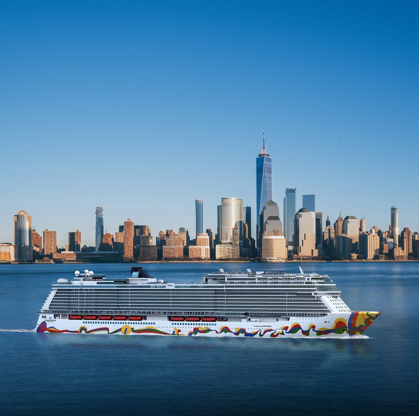 An artist drawing shows Norwegian Cruise Line's next new ship, Norwegian Encore, sailing near New York City.