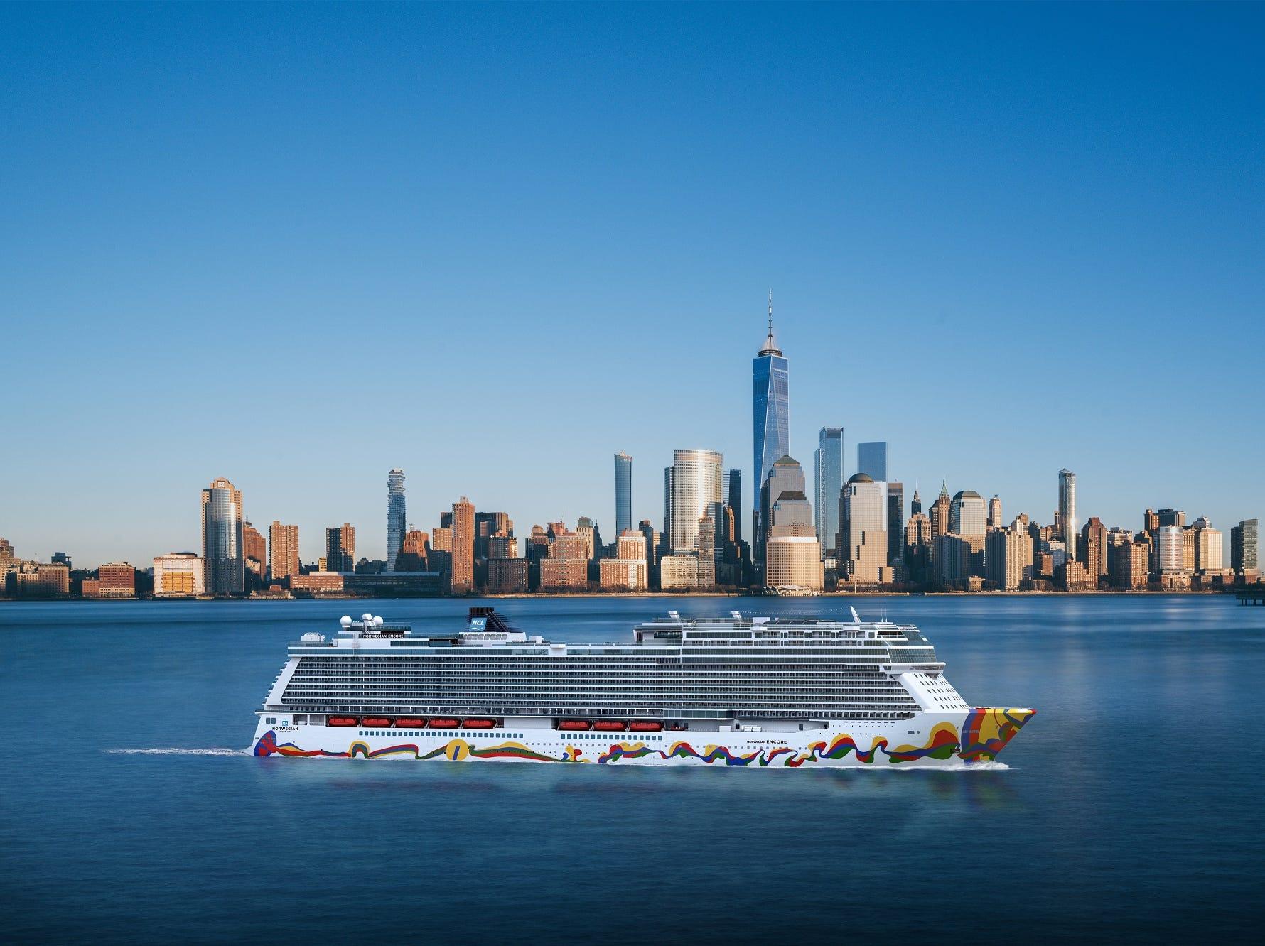 An artist's drawing shows Norwegian Cruise Line's next new ship, Norwegian Encore, sailing near New York City.