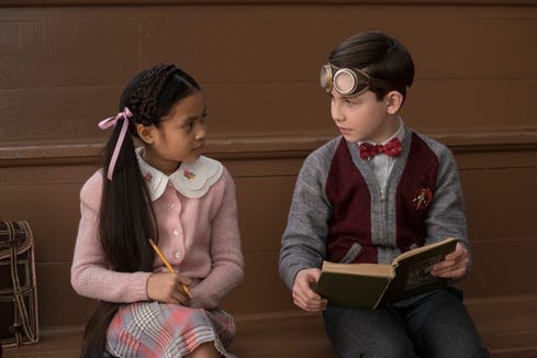 Lewis (right, Owen Vaccaro) makes friends with Rose Rita Pottinger (Vanessa Anne Williams).