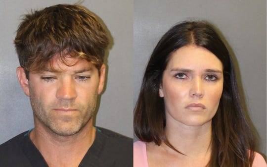 A combo handout booking image released by the Orange County District Attorney's Office on 18 September 2018 showing Grant William Robicheaux, 38, (L) and Cerissa Laura Riley, 31, (R) who have been arrested and charged for allegedly sexually assaulting two women by use of drugs, in Newport Beach, California, USA.