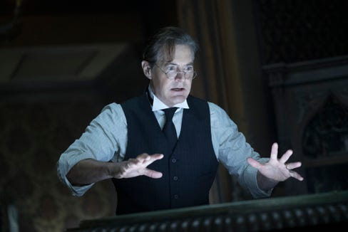 "Isaac Izard (Kyle MacLachlan) is one creepy dude in ""The House with a Clock in Its Walls."""