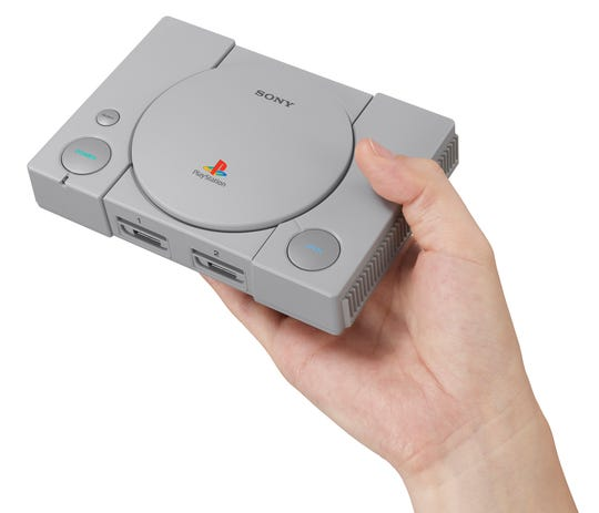 """The PlayStation Classic, priced at $59 from $99, is smaller than the original console and is preloaded with 20 classic games including """"Final Fantasy VII"""" and """"Grand Theft Auto."""""""