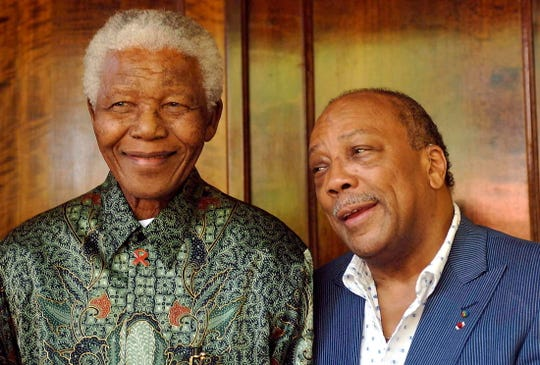 Former South African President Nelson Mandela, left, with Quincy Jones in Johannesburg in 2006.