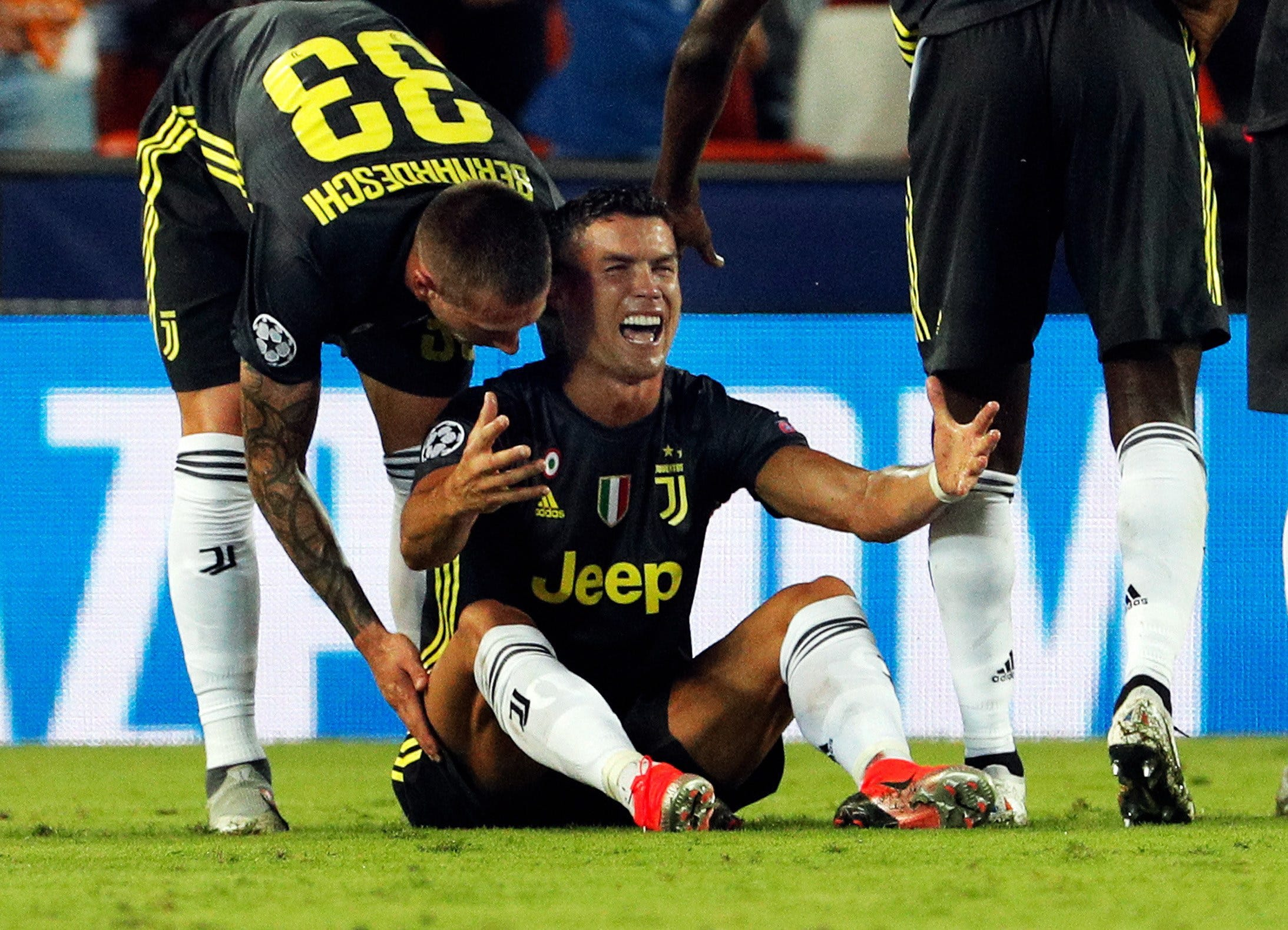 Cristiano Ronaldo In Tears After First Champions League Red Card