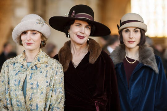 """When we left """"Downton Abbey,"""" the Crawley daughters (Laura Carmichael, left, and Michelle Dockery, right) had both married."""