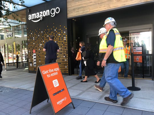 Outside one of the three the Amazon Go stores in Seattle in 9/19/18. You can't enter without having downloaded the app.