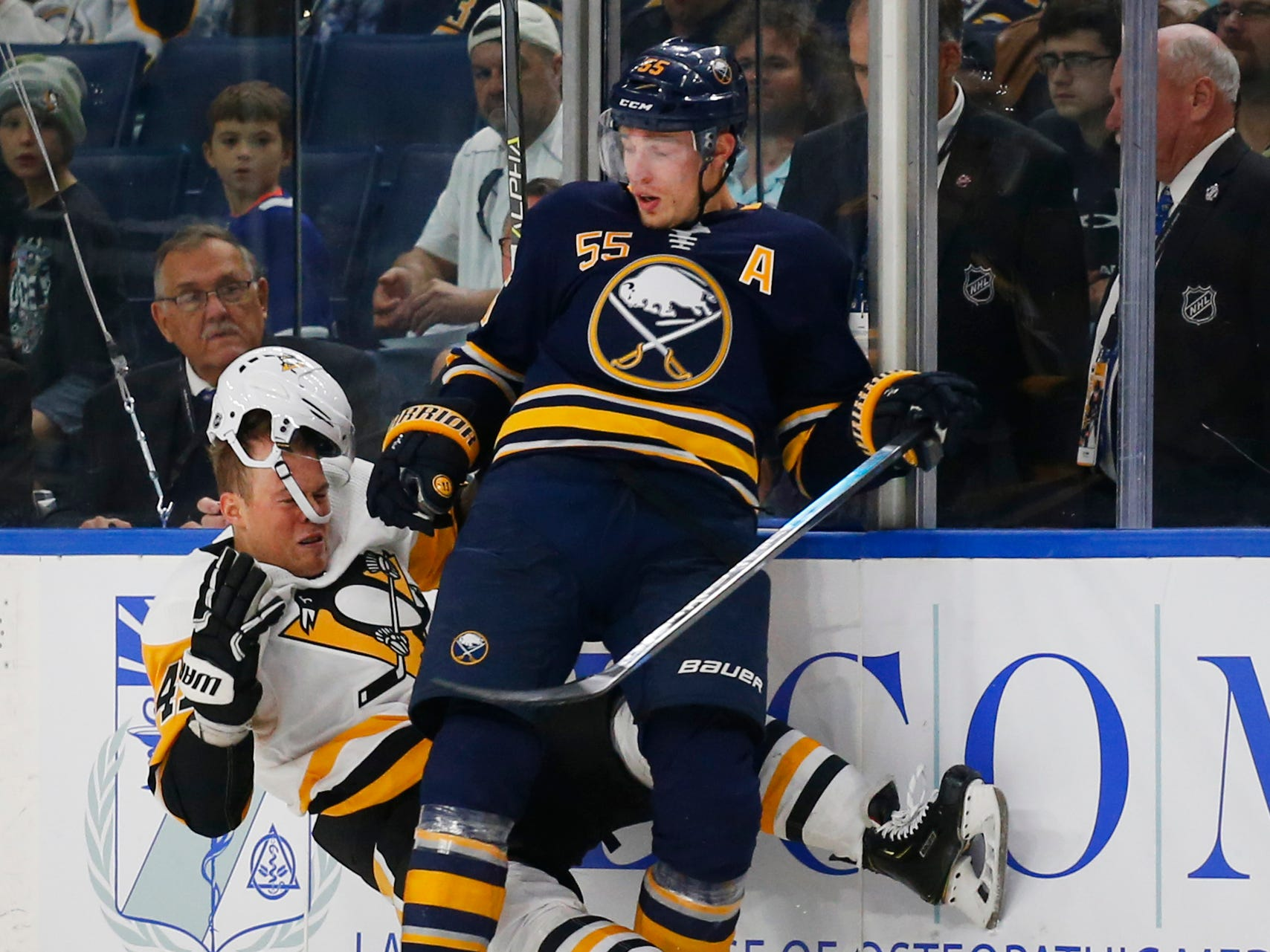 Sept. 18: Buffalo Sabres defenseman Rasmus Ristolainen sends Pittsburgh Penguins forward Daniel Sprong's helmet flying with a first-period check.