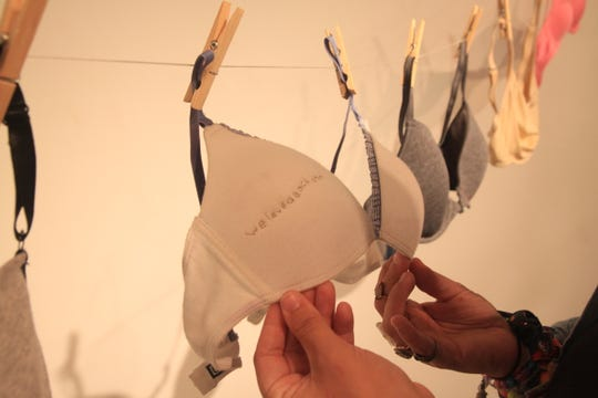 """We loved each other,"" was one of the phrases Geneva Hutchinson stitched onto a bra."
