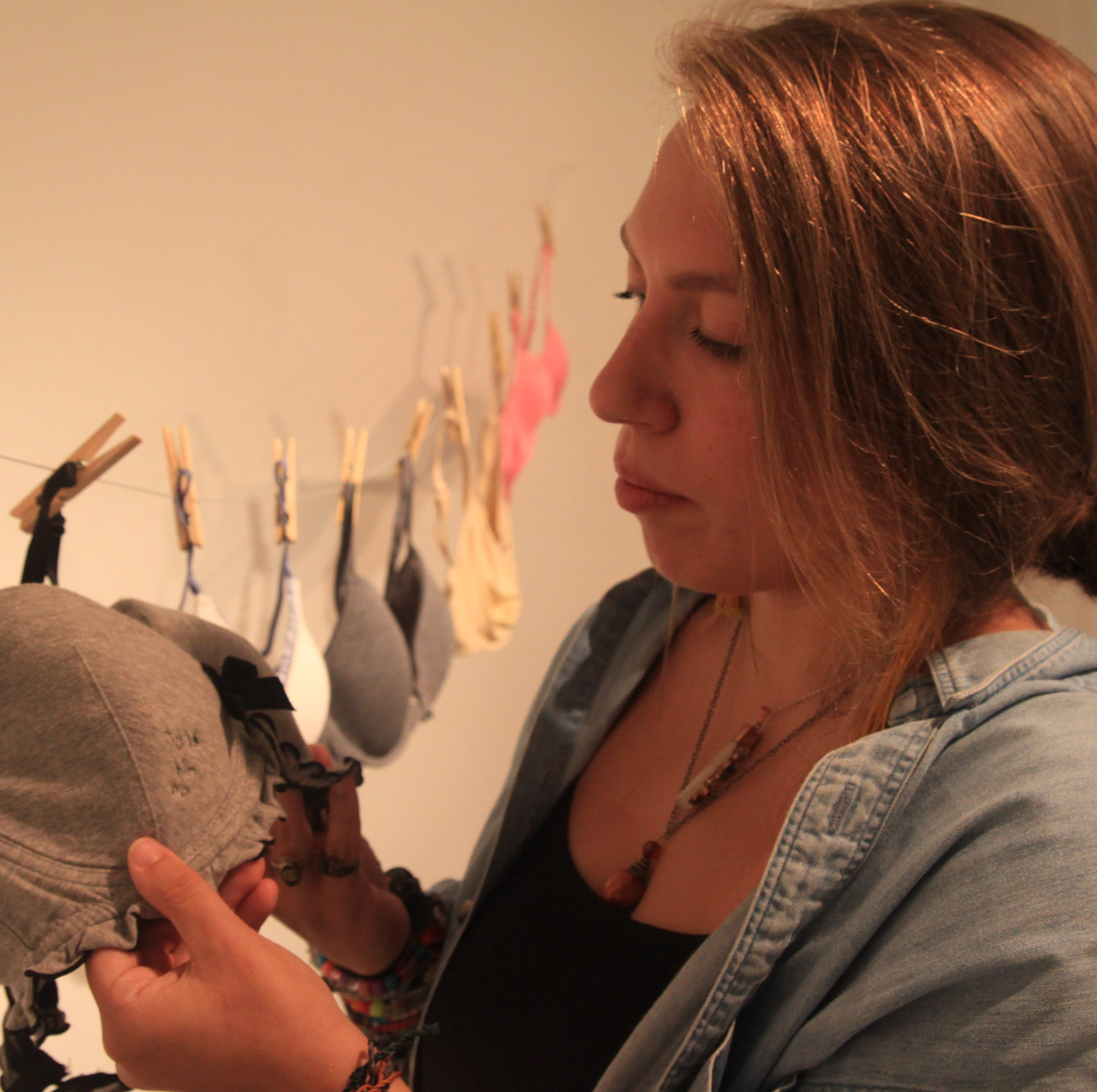 'What were you wearing?': Artist at Clemson uses embroidered bras to tell #MeToo stories