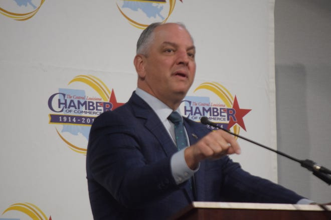 Gov. John Bel Edwards speaks at the Central Louisiana Regional Chamber of Commerce's 6th annual Women in Business Conference held Thursday at the Holiday Inn in downtown Alexandria.