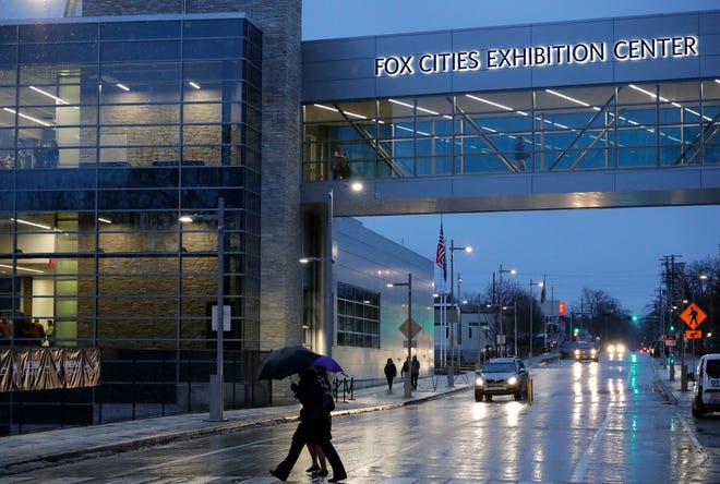 Residents make their way to the Fox Cities Exhibition Center for the grand opening in January.