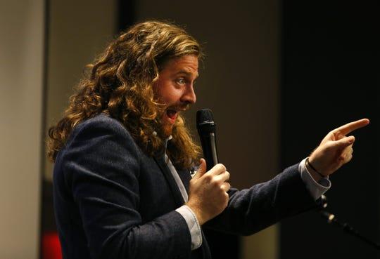 Sean O'Brien on stage during Jersey Story Tellers Project  at the Asbury Hotel in Asbury Park,N.J.  Wednesday, September 19, 2018.  Noah K. Murray-Correspondent Asbury Park Press