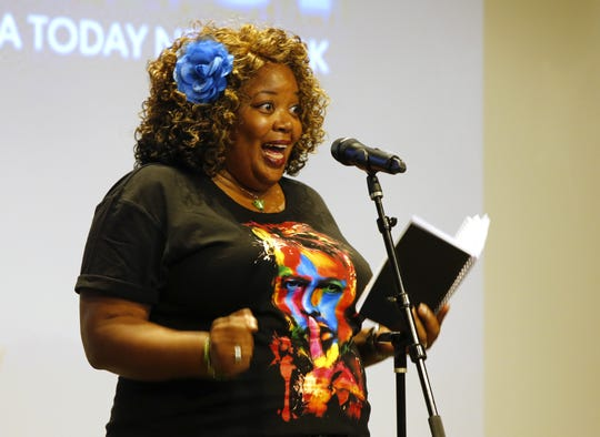 Sherone Rogers on stage during Jersey Story Tellers Project  at the Asbury Hotel in Asbury Park,N.J.  Wednesday, September 19, 2018.  Noah K. Murray-Correspondent Asbury Park Press