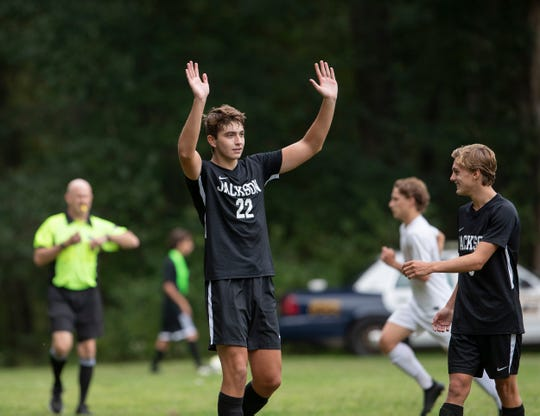 Jackson Memorial's Joe Schlageter gestures to crowd after scoring his second goal of game on a penalty shot. Toms River South Boys Soccer vs Jackson Memorial in Jackson, NJ on September 20, 2018. Toms River South Boys Soccer vs Jackson Memorial in Jackson, NJ on September 20, 2018.