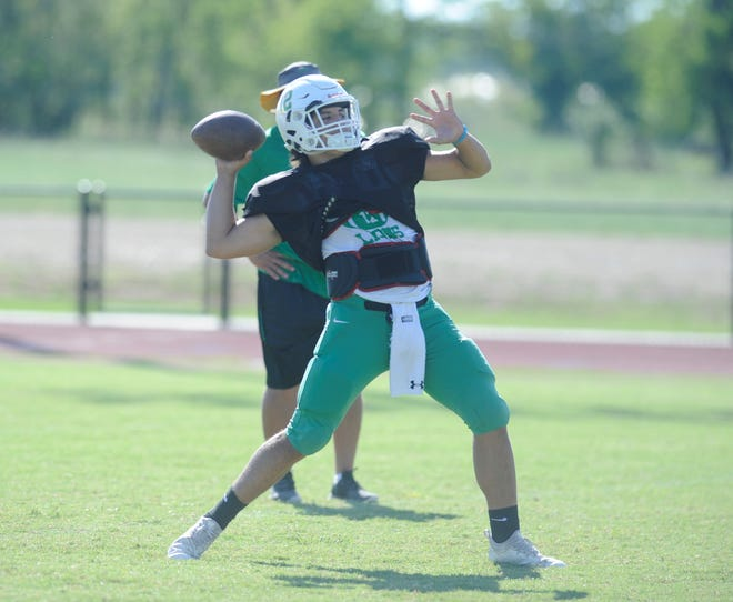 Dublin quarterback Cy Wing prepares to launch a pass during practice Sept. 19, 2018 at Dublin High School.