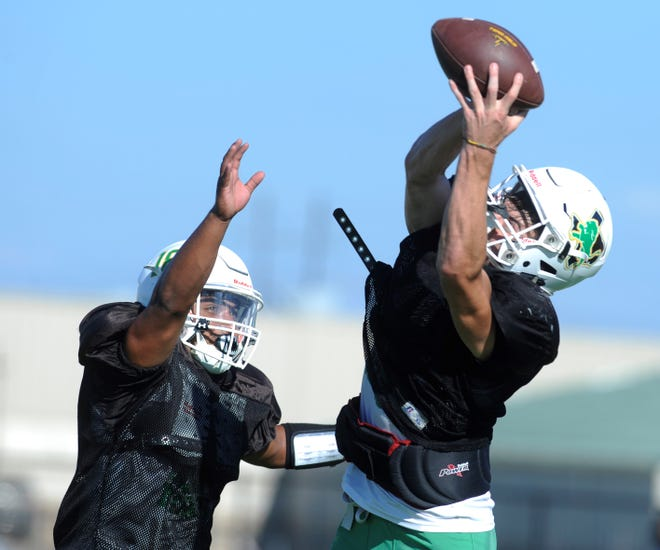 Dublin receiver Jacob Stanley, right, makes a catch in the end zone at practice Sept. 19, 2018 at Dublin High School.