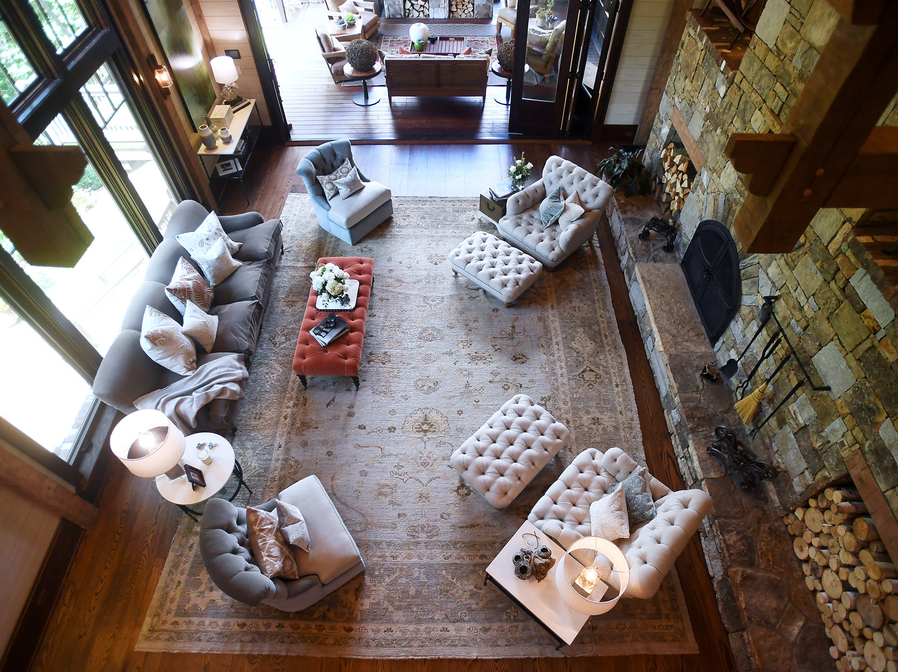 A view of the grand room in the Balsam Mountain Preserve home of Bobbye and Ken Bowdon.
